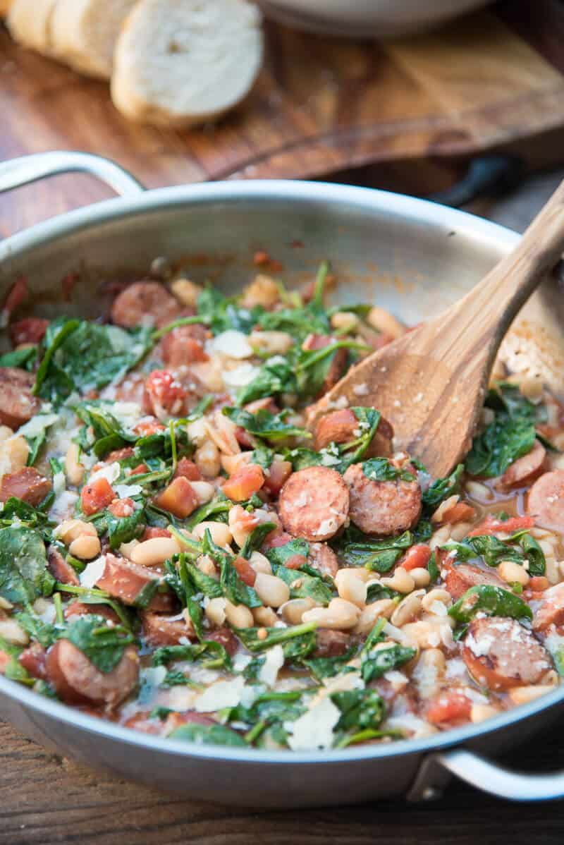 Skillet Sausage and White Beans with Spinach | 30 Easy One Pot Recipes for Busy Days