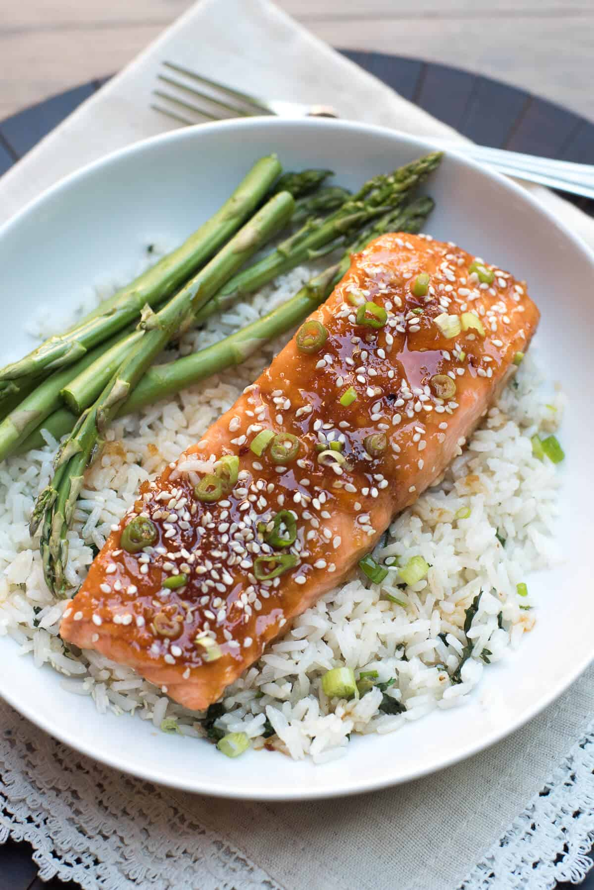 Orange Sesame Ginger Glazed Salmon