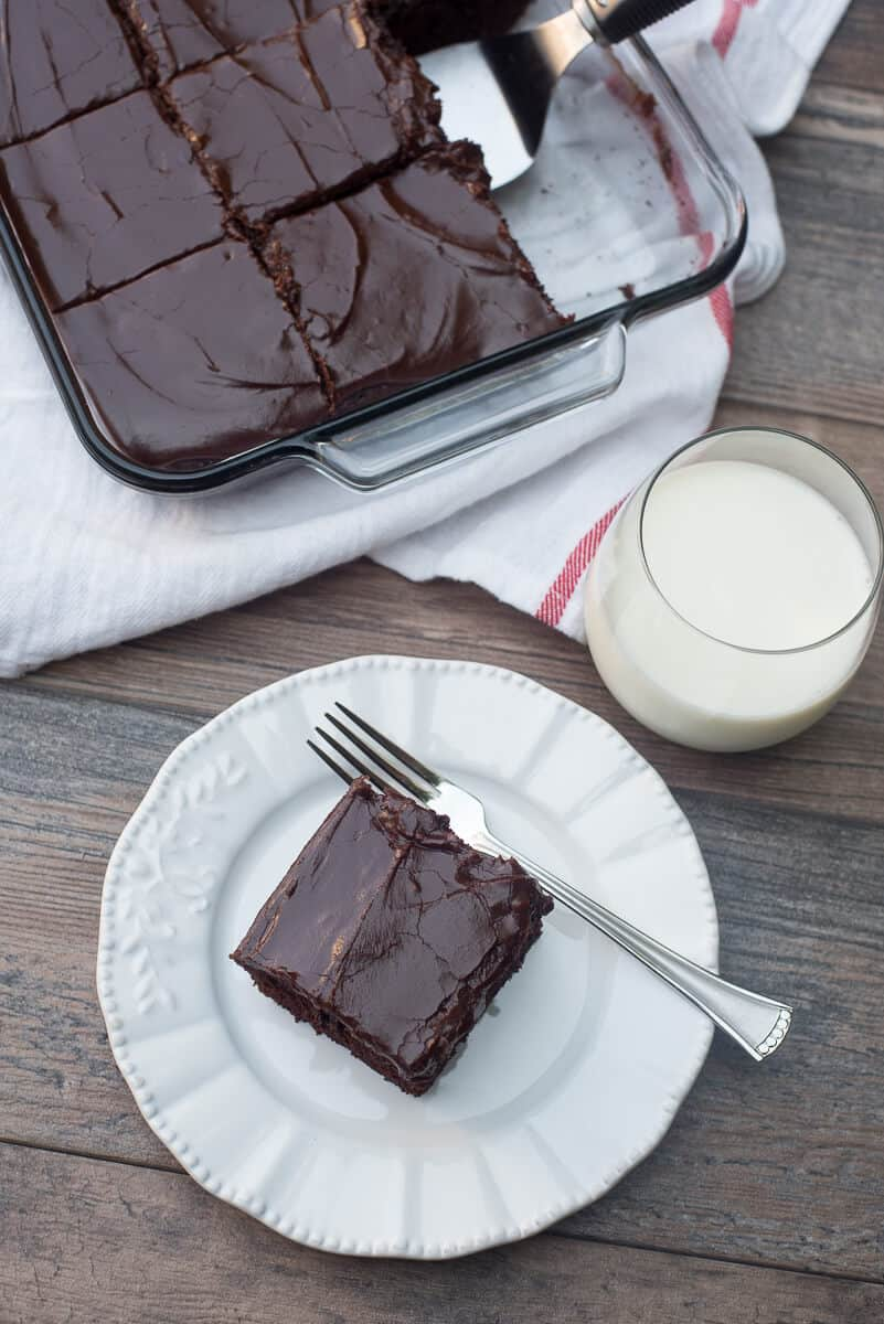 A slice of One Bowl Chocolate Cake on a white serving plate with a fork and a glass of milk.