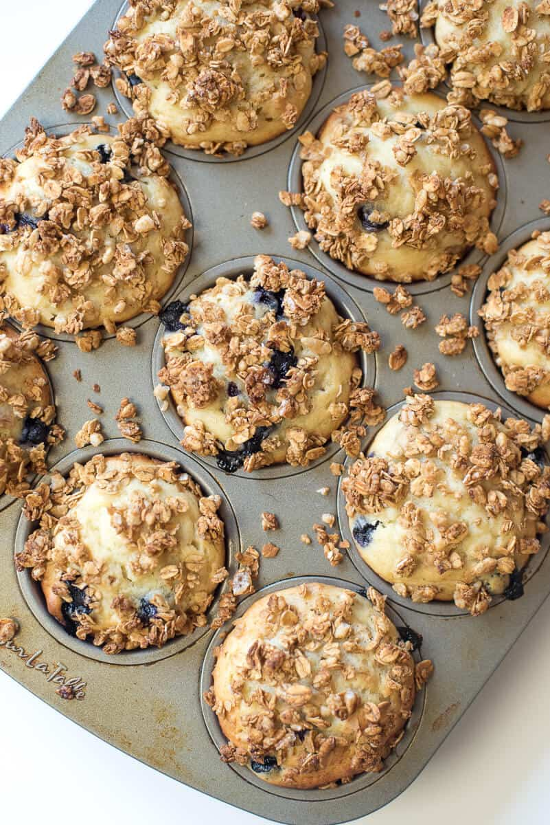 The muffins with crunchy granola topping after they come out of the oven.