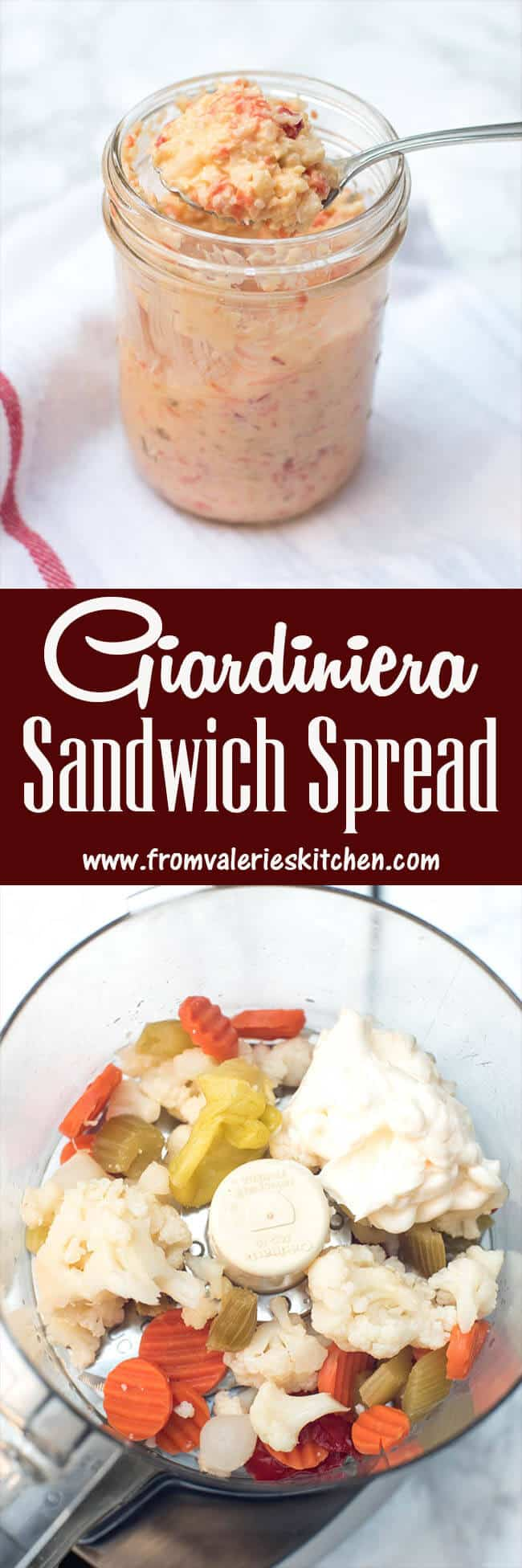 A two image vertical collage of Giardiniera Sandwich Spread with text overlay.