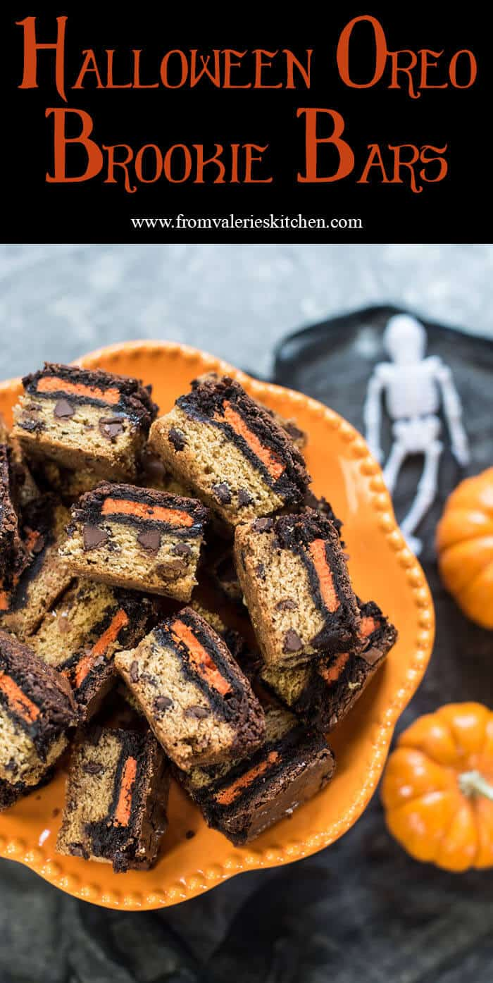 There are three delicious layers in these Halloween Oreo Brookie Bars. A really simple way to add a colorful and very tasty treat to your Halloween festivities!