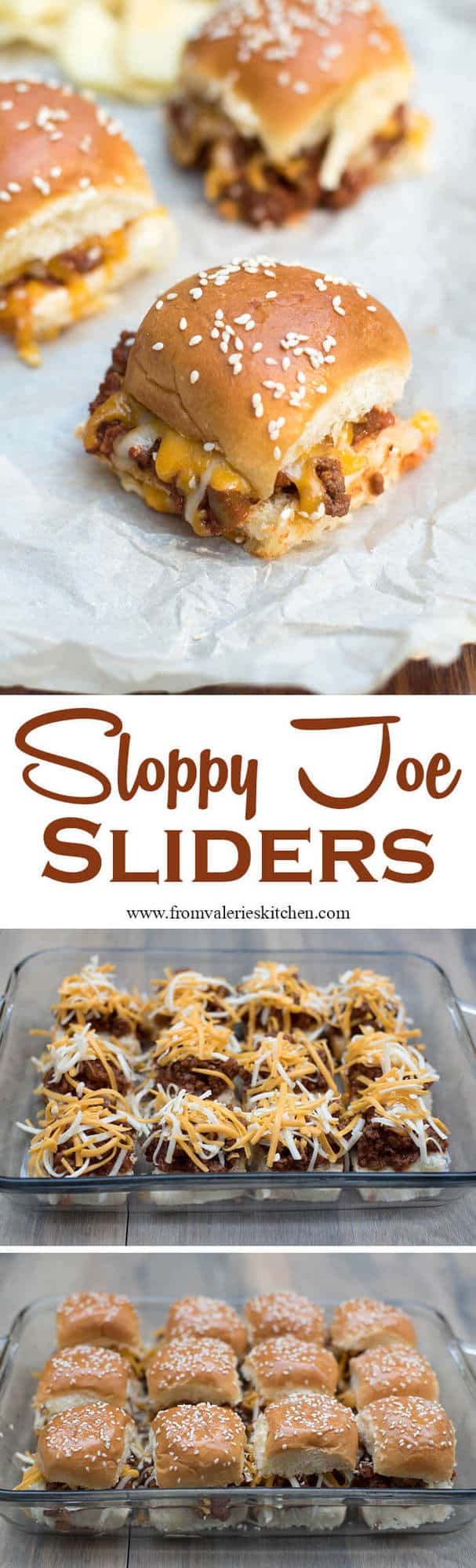 A three image vertical collage of sloppy joe sliders with text overlay.
