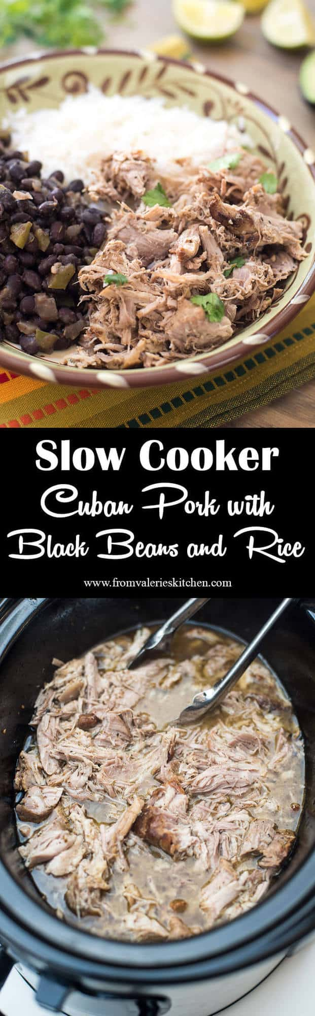 Slow Cooker Cuban Pork with Black Beans and Rice
