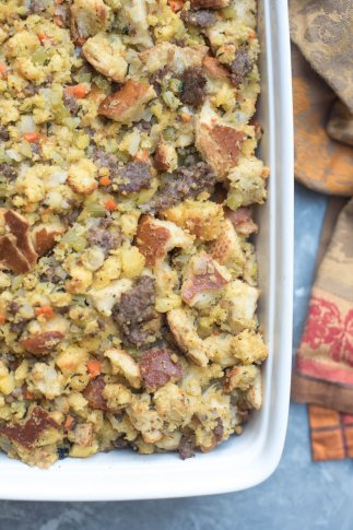 Cornbread Stuffing with Sage Sausage and Apples