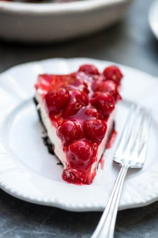Easy Cherry Cheesecake Pie with a Chocolate Crust