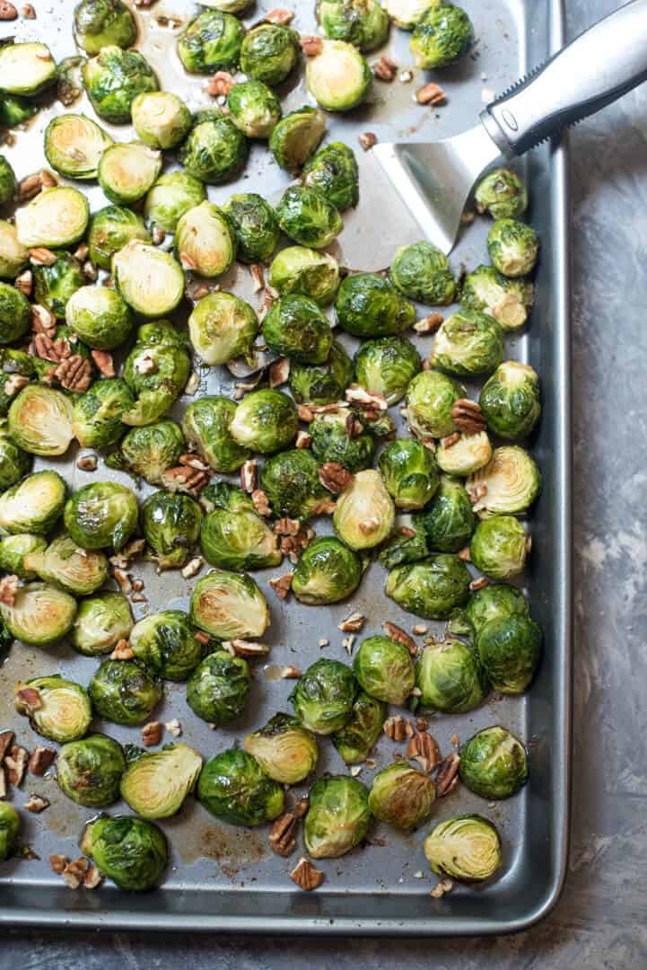 A slightly sweet, wonderfully savory way to prepare this fall classic. Maple Pecan Roasted Brussels Sprouts are a great choice for your Thanksgiving menu.