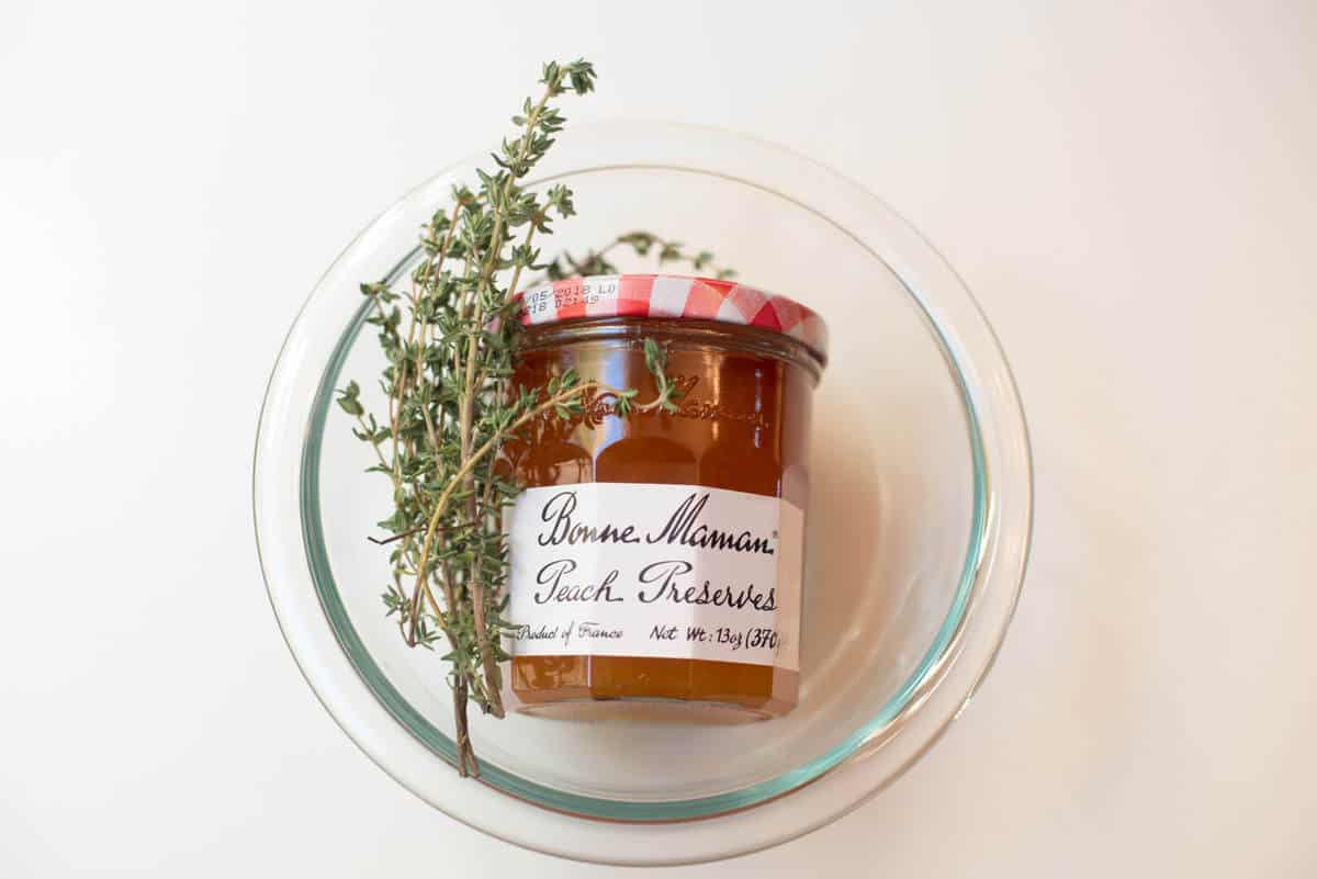 Bonne Maman Peach Preserves and fresh thyme
