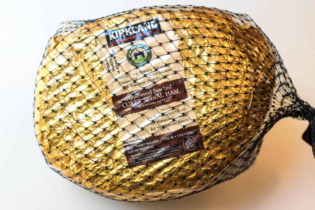 Kirkland Applewood Smoked Cured Spiral Ham in the packaging