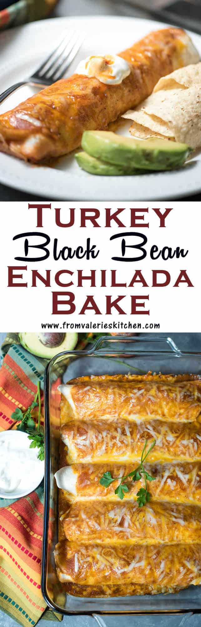 This Turkey Black Bean Enchilada Bake has a creamy, flavorful filling of lean ground turkey, black beans, corn, and diced tomatoes that is rolled in tortillas and topped with enchilada sauce and cheese. The recipe makes enough to feed a crowd or pop one dish in the freezer for an easy dinner when you need it!