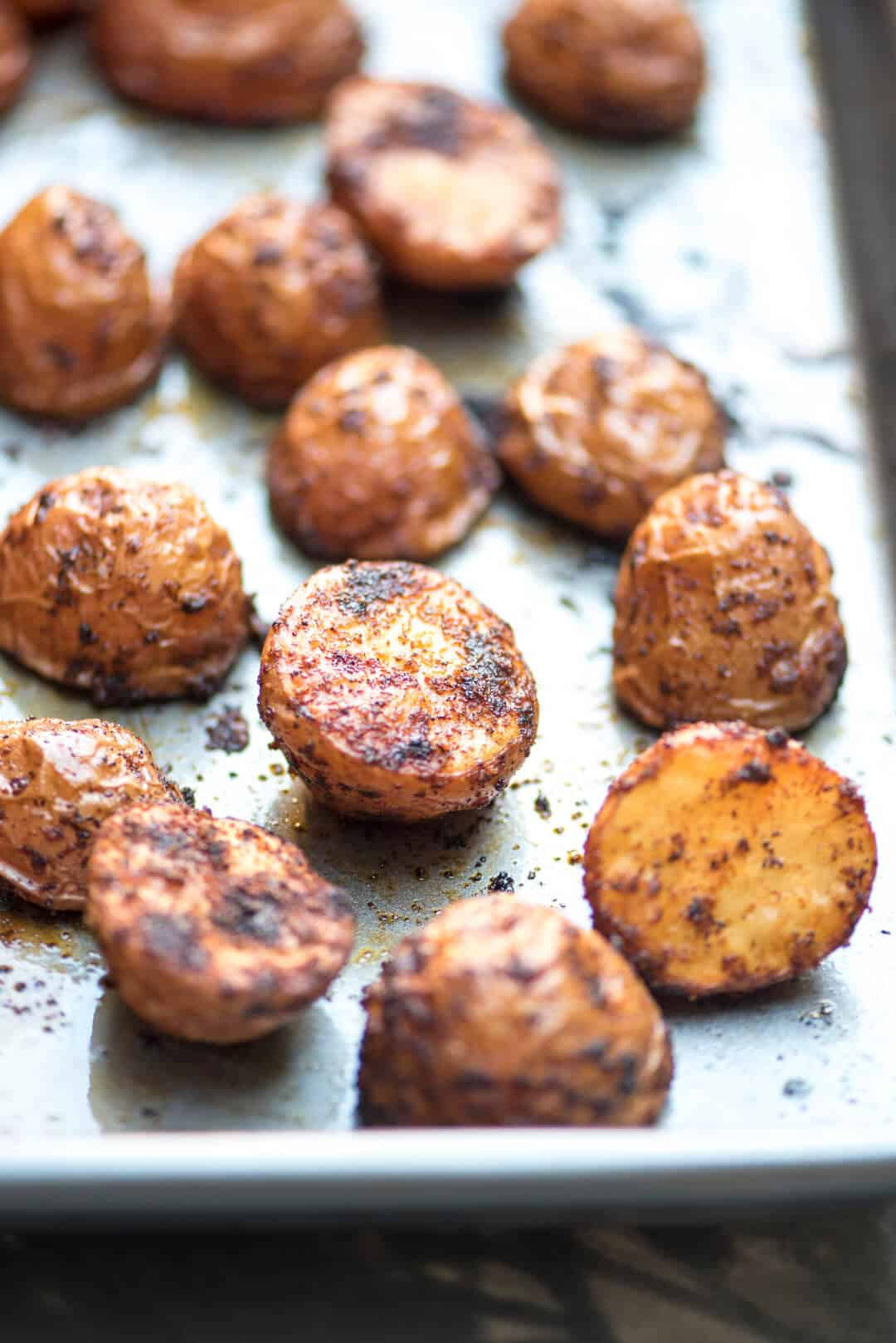 Oven Roasted BBQ Potatoes on a baking sheet.