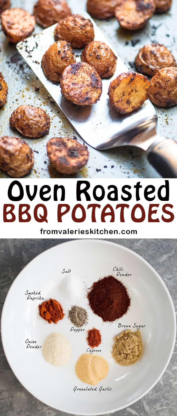 A two image vertical collage of Oven Roasted BBQ Potatoes with text overlay.