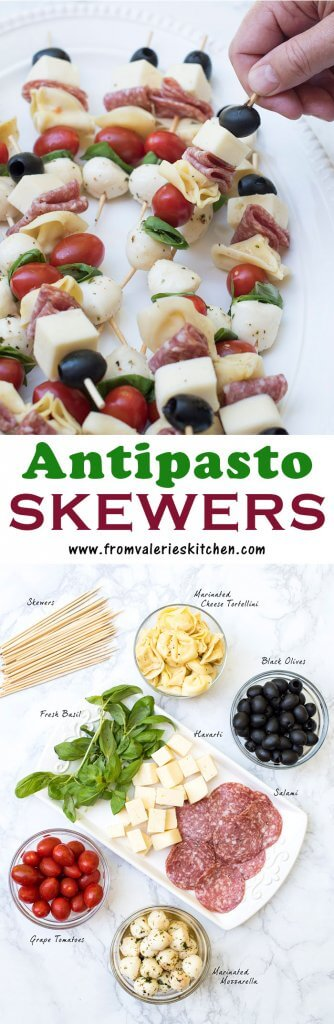 Two images of Antipasto Skewers with text overlay.