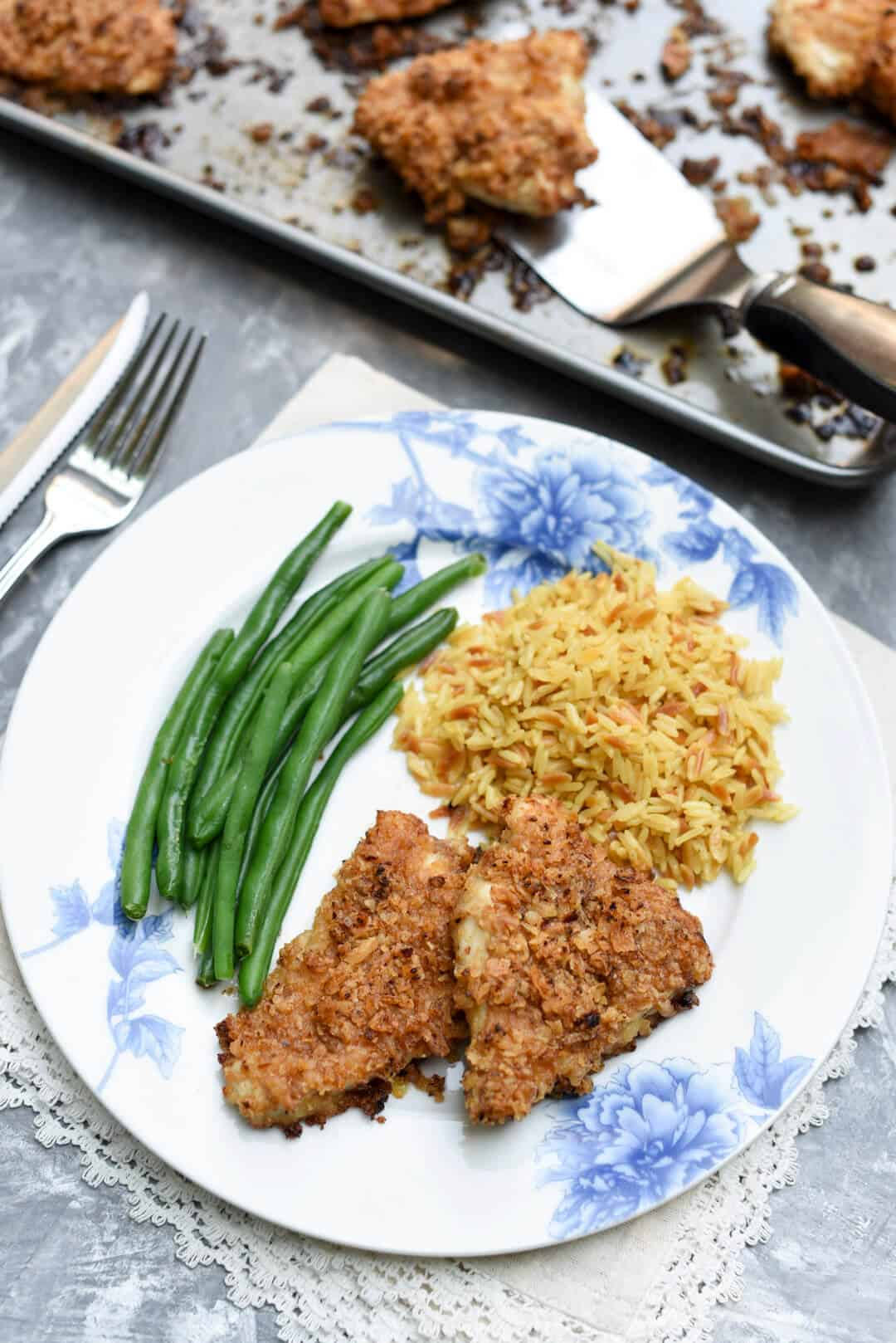 This Crispy Onion Chicken is golden brown and crispy on the outside and super tender on the inside. A delicious, family-friendly meal!