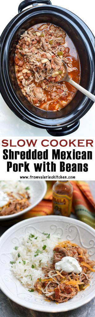Two images of Slow Cooker Mexican Pork with Beans with text overlay.