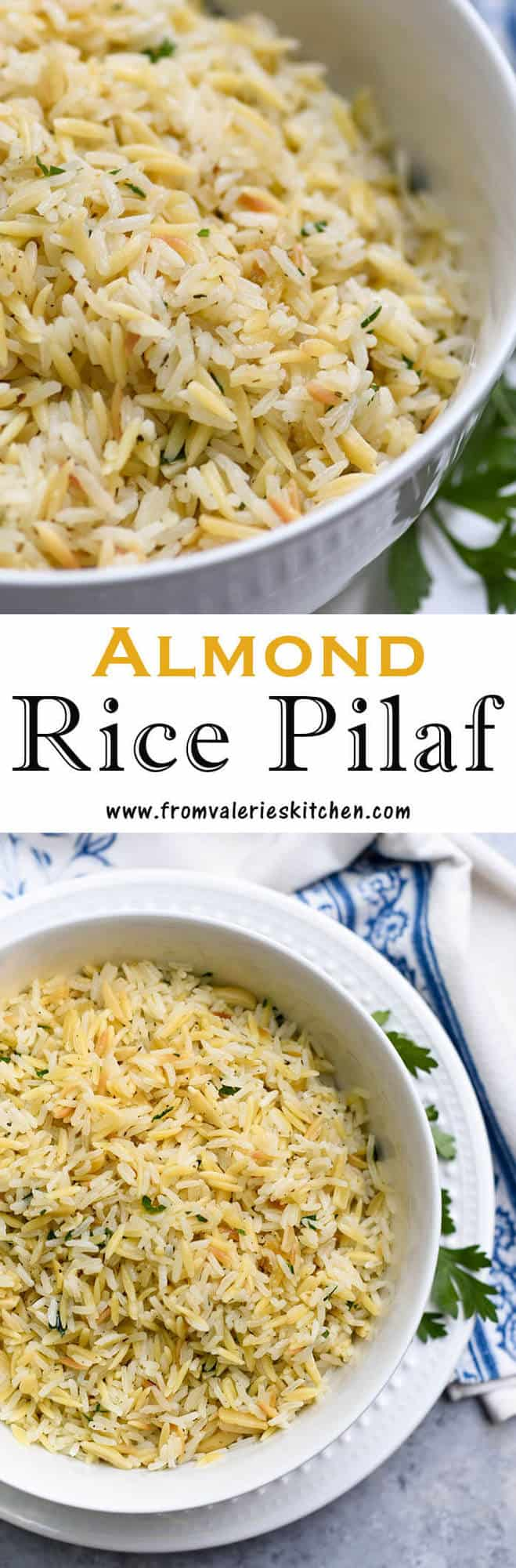 A two image vertical collage of Almond Rice Pilaf with overlay text.