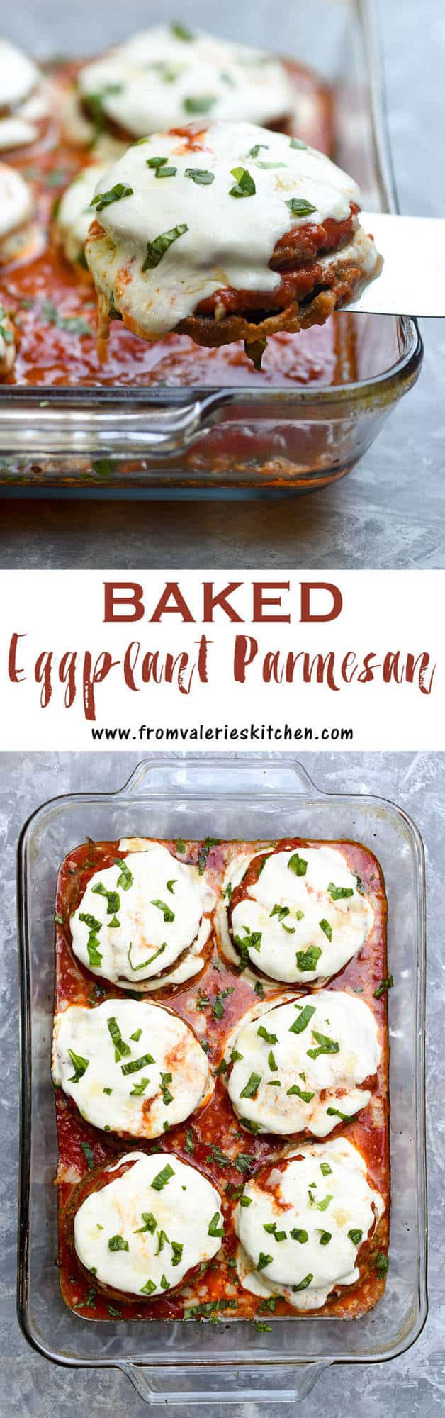 A two image vertical collage of Baked Eggplant Parmesan with overlay text.