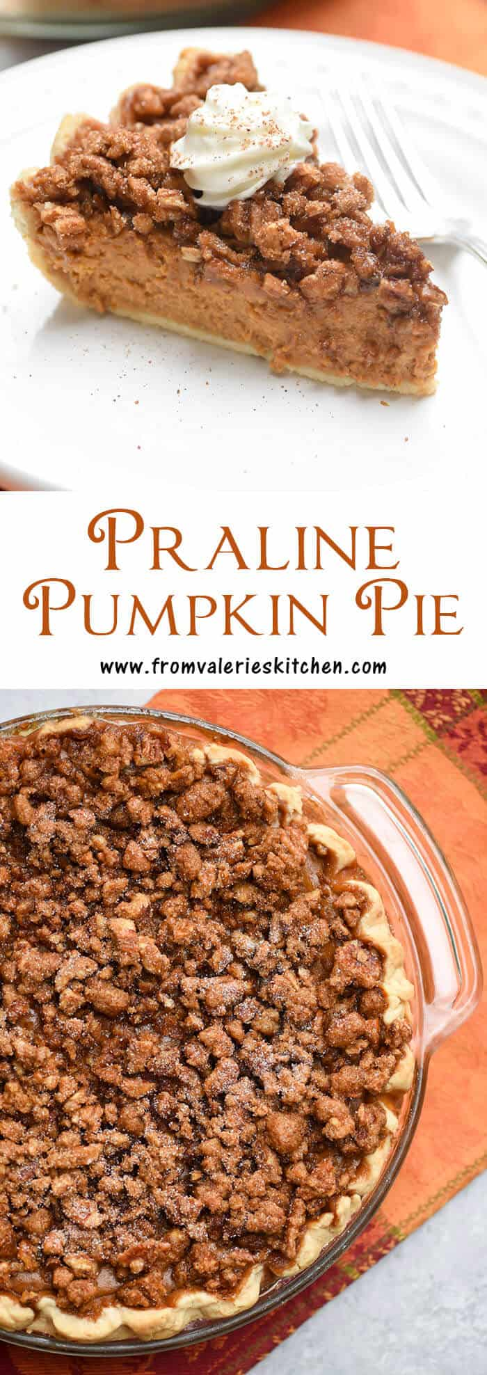 A richly spiced pumpkin pie topped with a sticky sweet pecan praline and baked to perfection. This Praline Pumpkin Pie is a delicious twist on the classic!