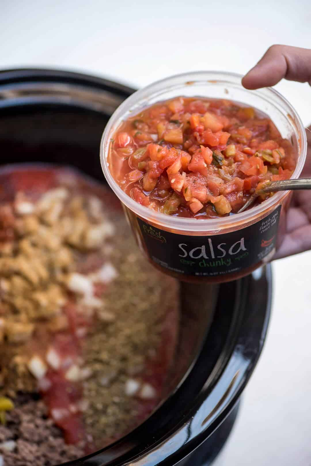 Slow Cooker Salsa Chili - Fresh Cravings Salsa