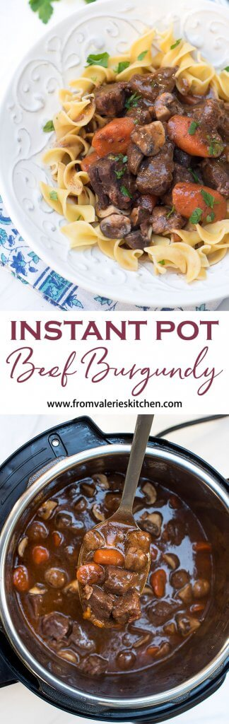 Your Instant Pot will help you create this luscious dish in a fraction of the time it would take using traditional methods. Instant Pot Beef Burgundy is rustic, flavorful and sure to impress. #instantpot #pressurecooking #instantpotbeefrecipes #instantpotrecipes #beefburgundy