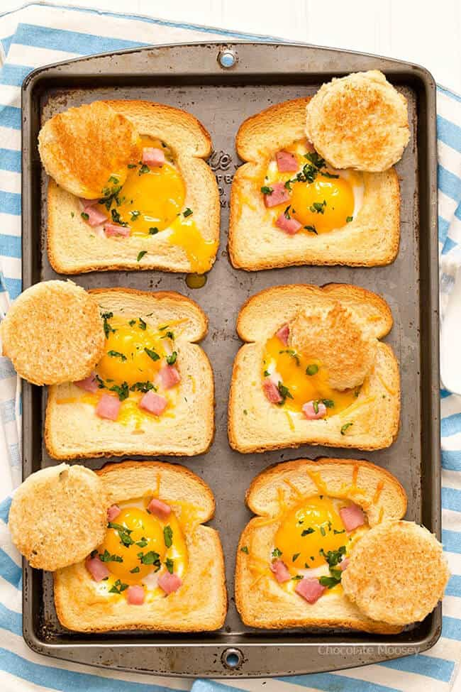 Ham and Cheese Eggs in Toast | 25 Recipes for Leftover Ham