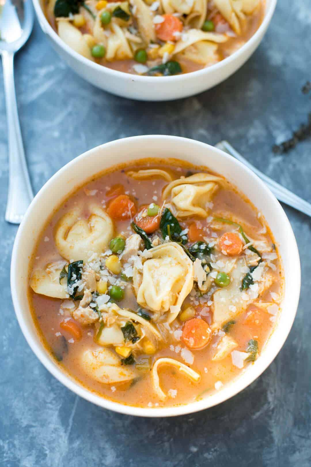 Chicken Vegetable Tortellini Soup | 25 Easy Recipes with Rotisserie Chicken