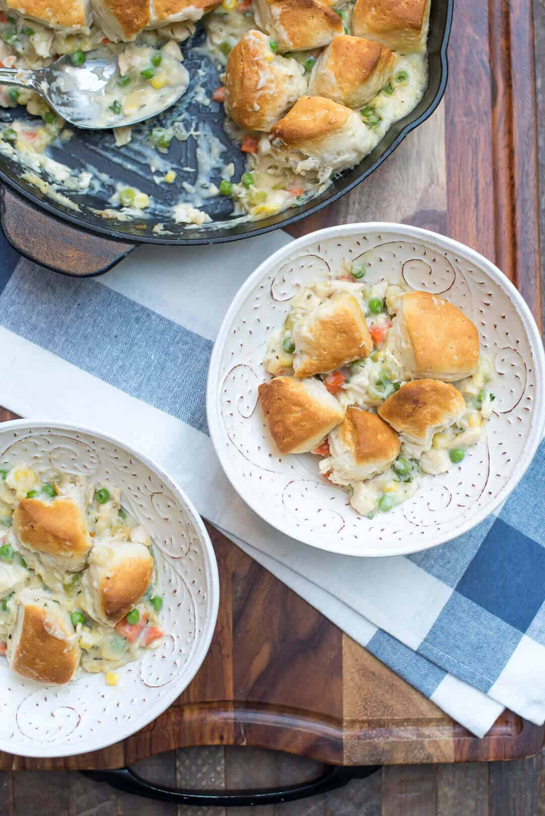 Skillet Chicken and Biscuit Pot Pie | 25 Easy Recipes with Rotisserie Chicken