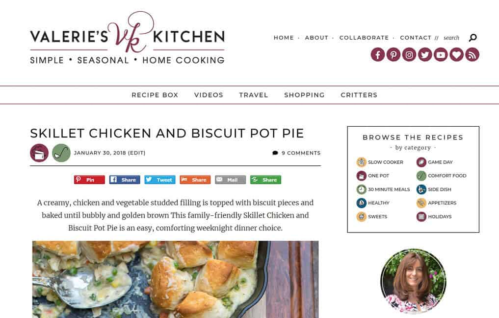 A screenshot of Valerie's Kitchen New Site Design 2018