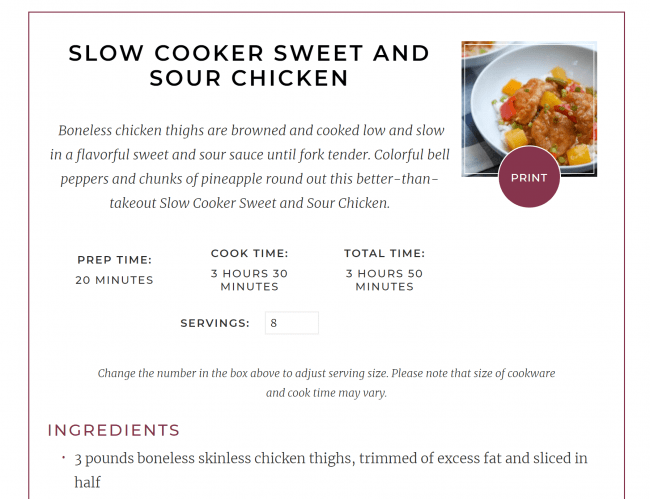 A screenshot of a recipe card for Slow Cooker Sweet and Sour Chicken.