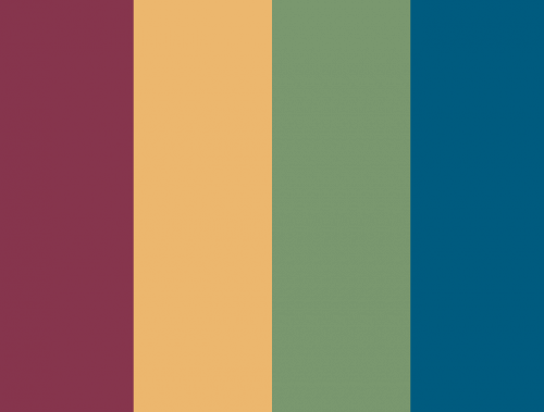 The color palette for Valerie's Kitchen - stripes of burgundy, yellow-gold, sage green, and blue.