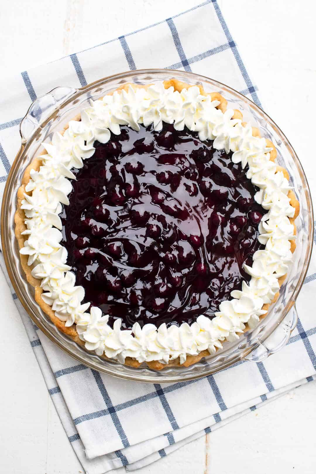 The filling in this Blueberry Lemon Sour Cream Pie is absolutely heavenly. A creamy, totally luscious summer dessert.