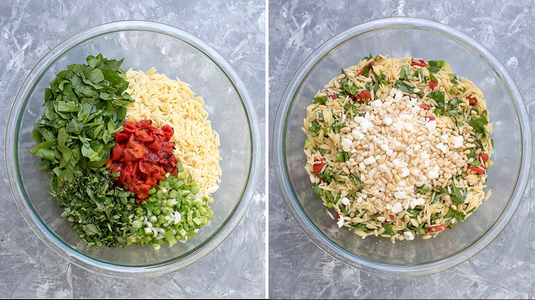 How to make Orzo Salad with Roasted Roasted Red Peppers, Spinach, and Feta
