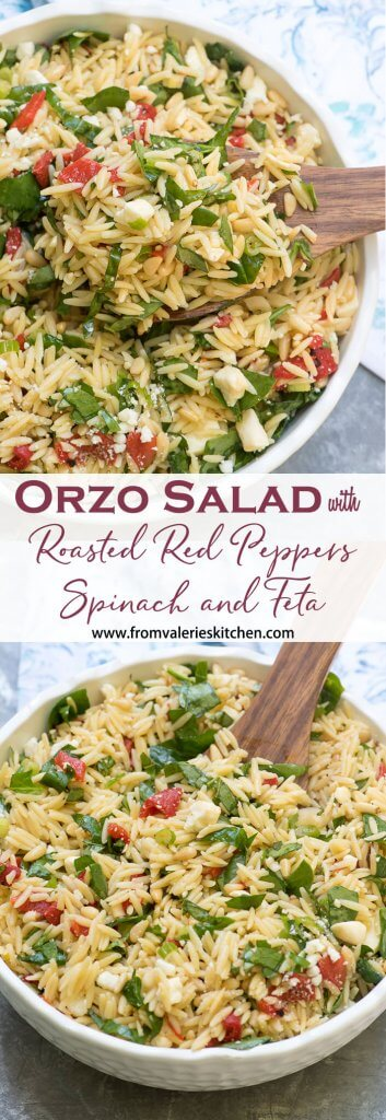 Orzo salad in a bowl with overlay text.