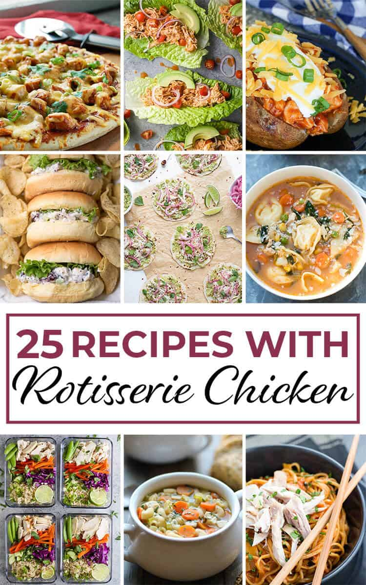 One of the best ways to make life easier during hectic times is to have a store-bought rotisserie chicken waiting for you in your refrigerator at the end of the day.  I hope that this collection of 25 Easy Recipes with Rotisserie Chicken will provide some busy day inspiration!