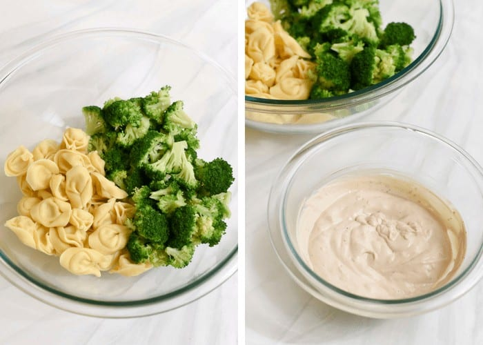 Two images side by side showing the process of combining the tortellini and broccoli and the creamy dressing.