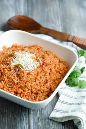A bowl of rice topped with shredded white cheese.