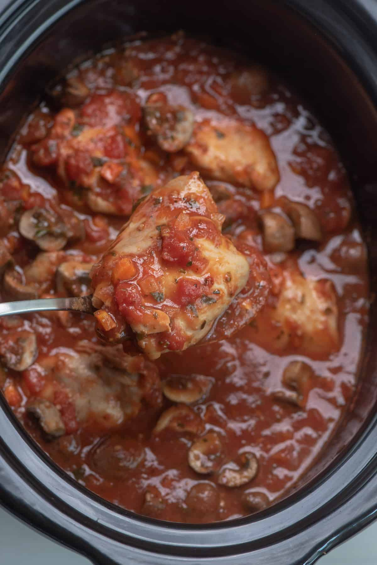 A spoon lifts a piece of Chicken Cacciatore from the slow cooker.