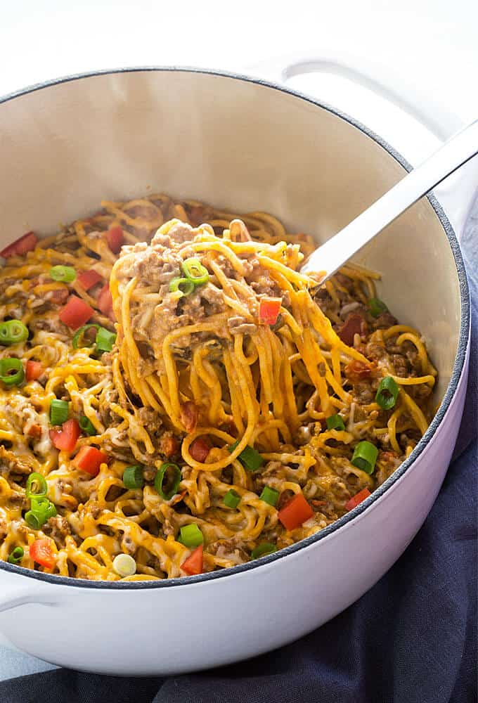 One Pot Creamy Taco Spaghetti | 30 Easy One Pot Recipes for Busy Days