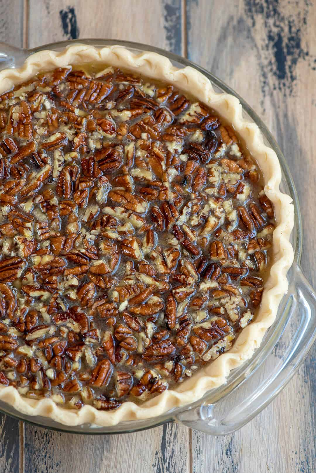 Bourbon Pecan Pie - ready to go in the oven
