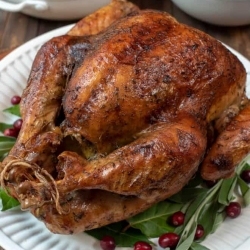 A browned turkey on a platter with fresh herbs and cranberries.