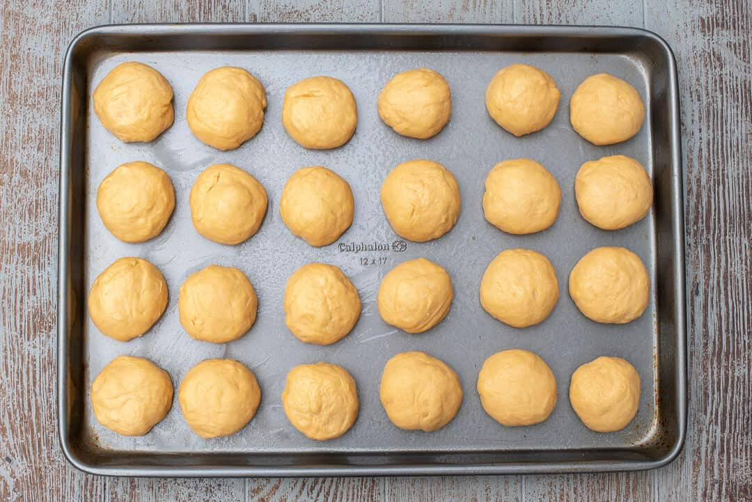 Form the dough into 24 even sized balls.