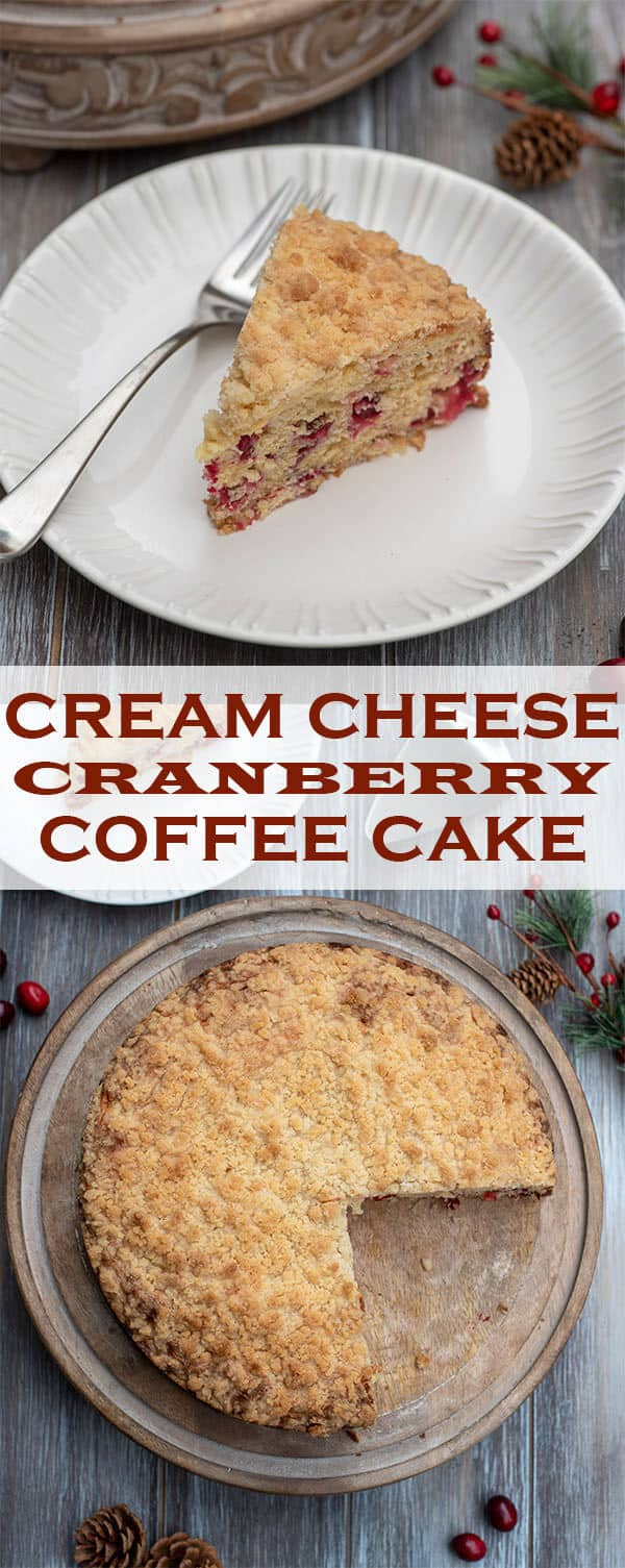 A sweet and creamy cheesecake-like layer and a tender crumb topping adorn this festive Cream Cheese Cranberry Coffee Cake. Delicious with breakfast or for an afternoon treat during the holidays.