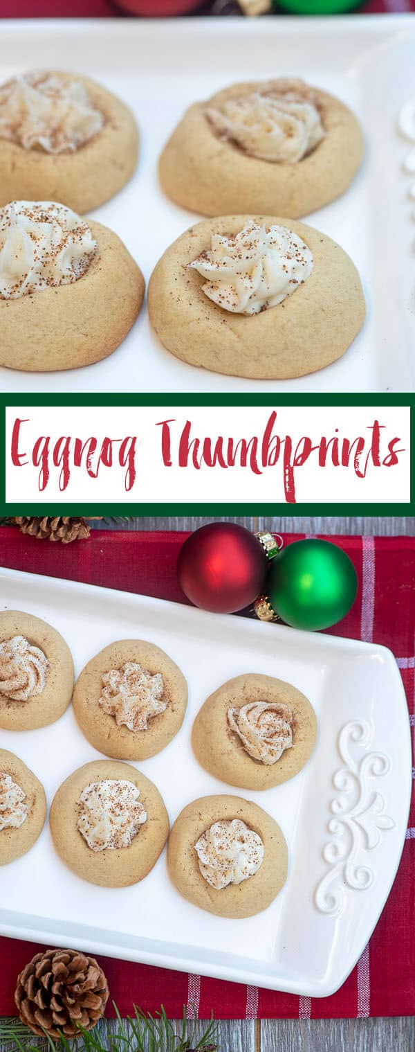 A two image vertical collage of Eggnog Thumbprints with overlay text.