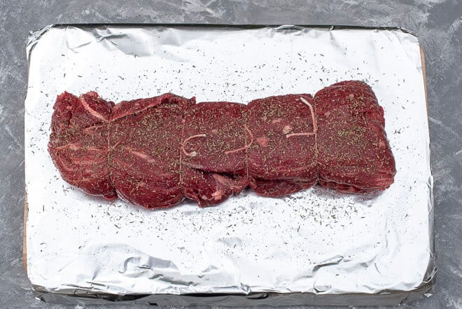 Beef tenderloin with seasoning.