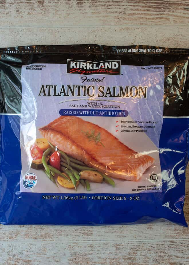 A bag of Frozen Kirkland Atlantic Salmon - a great choice for making this Blackened Salmon