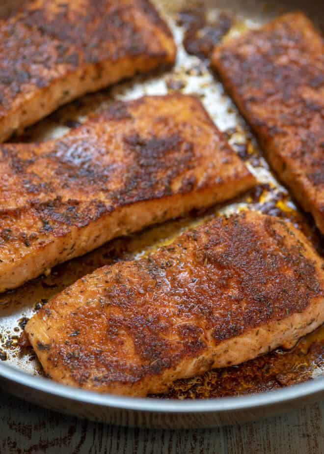 Blackened Salmon in the pan.