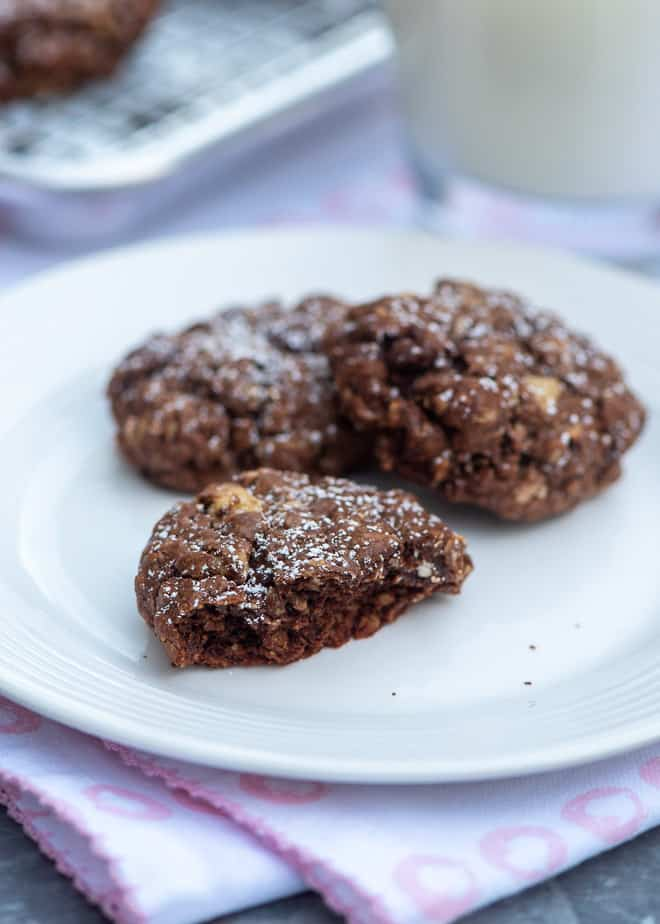 Chocolate Brownie Oatmeal Cookies on a small white plate