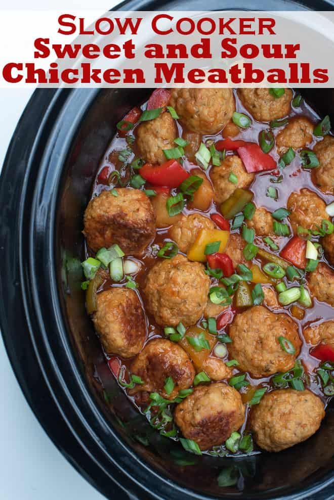 Slow Cooker Sweet and Sour Chicken Meatballs in a slow cooker insert with overlay text.