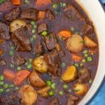 A closeup of beef stew in a pot.