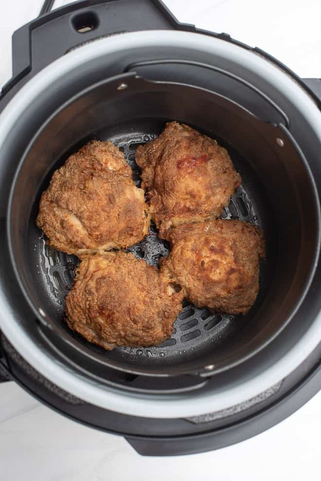 Four pieces of Air Fryer Fried Chicken after the cooking process.